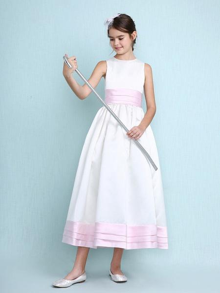Princess / A-Line Jewel Neck Knee Length Satin Junior Bridesmaid Dress With Sash / Ribbon / Ruched / Ruffles / Spring / Summer / Fall / Winter / Wedding Party_4