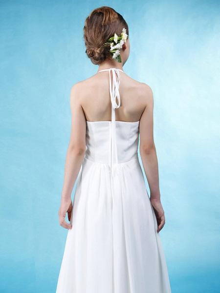 Princess / A-Line Halter Neck Floor Length Chiffon / Satin Junior Bridesmaid Dress With Sash / Ribbon / Ruched / Draping / Spring / Summer / Fall / Wedding Party / Natural_5