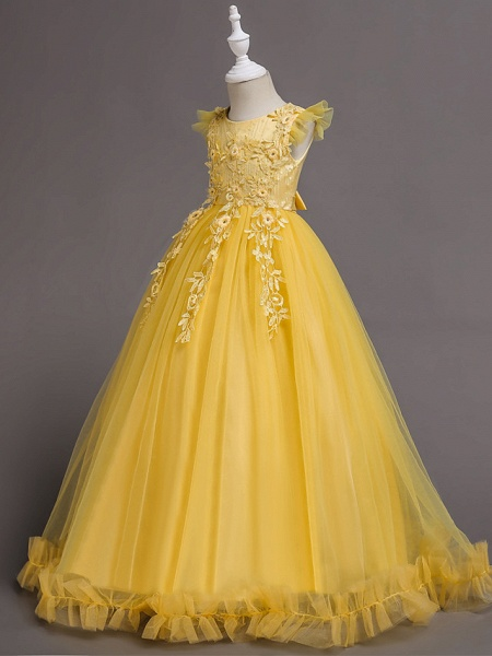 Princess Floor Length Wedding / Birthday / Pageant Flower Girl Dresses - Lace / Tulle / Polyester Short Sleeve Jewel Neck With Bow(S) / Embroidery / Appliques_2
