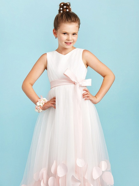 Princess / A-Line V Neck Sweep / Brush Train Satin / Tulle Junior Bridesmaid Dress With Sashes / Ribbons / Bow(S) / Wedding Party_6