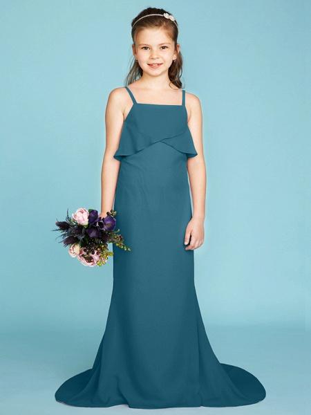 Sheath / Column Spaghetti Strap Sweep / Brush Train Chiffon Junior Bridesmaid Dress With Tiered / Wedding Party / Open Back_45