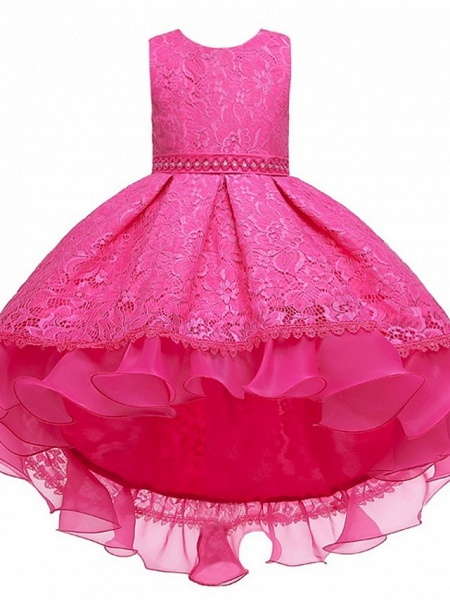 Princess / Ball Gown Floor Length Wedding / Party Flower Girl Dresses - Lace / Tulle Sleeveless Jewel Neck With Sash / Ribbon / Embroidery_9