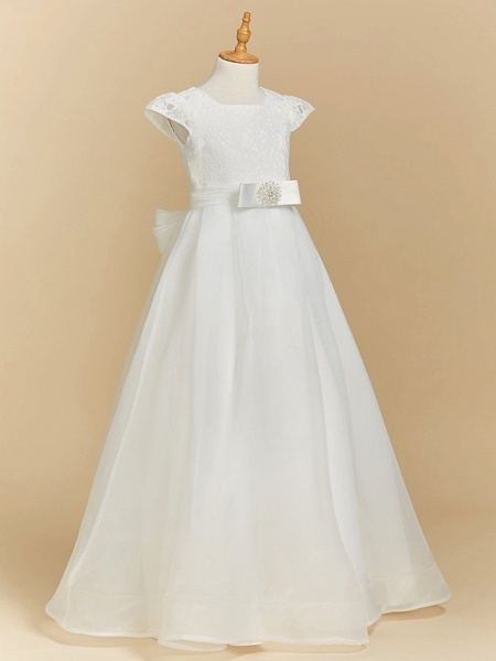 A-Line Floor Length Wedding / First Communion Flower Girl Dresses - Lace / Satin Short Sleeve Square Neck With Bow(S)_3