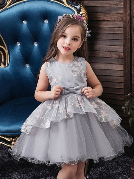 Princess / Ball Gown Knee Length Wedding / Party Flower Girl Dresses - Tulle Sleeveless Jewel Neck With Bow(S) / Tier_1