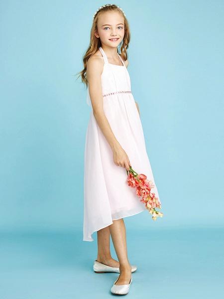 Sheath / Column Halter Neck Asymmetrical Chiffon Junior Bridesmaid Dress With Bow(S) / Beading / Natural_3