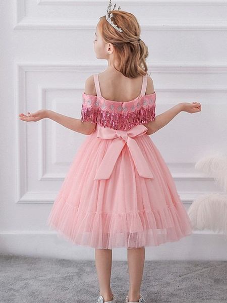 Princess / Ball Gown Knee Length Wedding / Party Flower Girl Dresses - Tulle Short Sleeve Off Shoulder With Bow(S) / Pleats / Beading_3