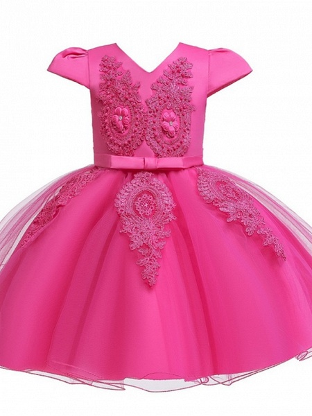 Princess / Ball Gown Knee Length Wedding / Party Flower Girl Dresses - Tulle Short Sleeve V Neck With Sash / Ribbon / Bow(S) / Appliques_8