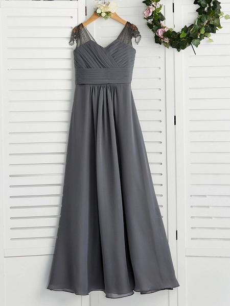 A-Line V Neck Maxi Chiffon Junior Bridesmaid Dress With Ruching_4