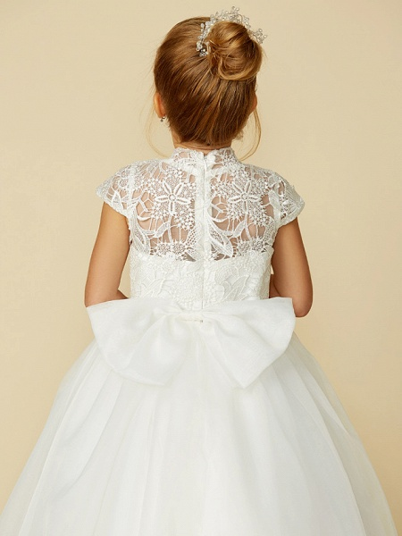 Ball Gown Floor Length Wedding / First Communion Flower Girl Dresses - Lace / Tulle Short Sleeve High Neck With Lace / Sash / Ribbon / Bow(S)_12