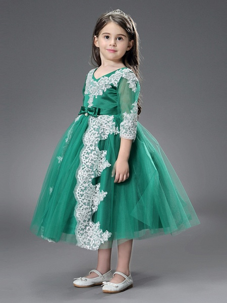 Princess / Ball Gown Ankle Length / Royal Length Train Wedding / Formal Evening Flower Girl Dresses - Tulle / Matte Satin Long Sleeve Jewel Neck With Beading / Appliques / Split Front_5