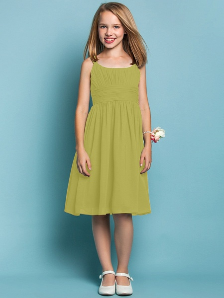 Sheath / Column Straps Knee Length Chiffon Junior Bridesmaid Dress With Ruched / Draping / Spring / Summer / Fall / Apple / Hourglass_17