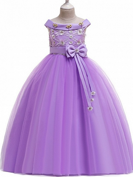 Princess Bateau Floor Length Cotton Junior Bridesmaid Dress With Bow(S) / Pearls / Appliques_4