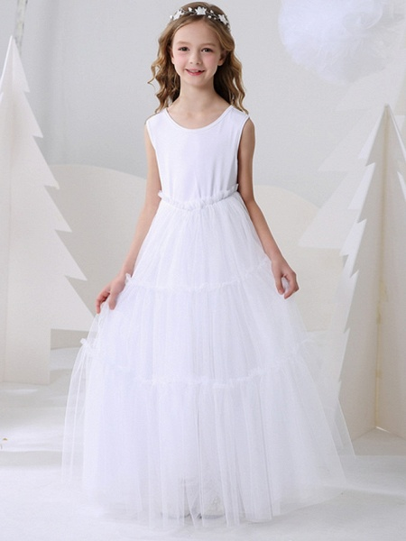 Ball Gown Floor Length Event / Party Flower Girl Dresses - Polyester Sleeveless Jewel Neck With Pattern / Print_1