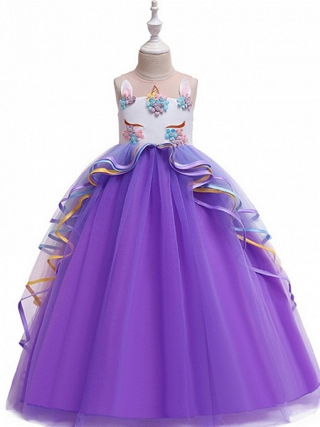 Princess / Ball Gown Floor Length Wedding / Party Flower Girl Dresses - Tulle Sleeveless Illusion Neck With Appliques / Cascading Ruffles_8