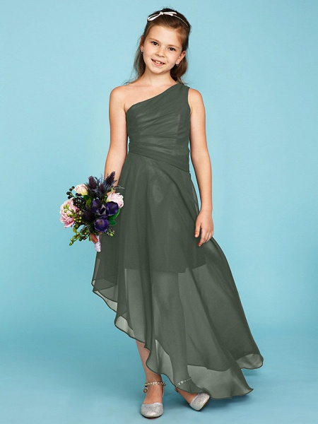 A-Line One Shoulder Asymmetrical Chiffon Junior Bridesmaid Dress With Side Draping / Wedding Party_32