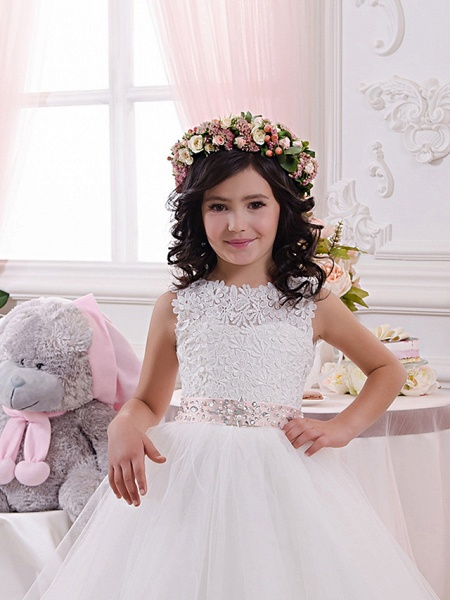 Princess Floor Length Wedding / Birthday / First Communion Flower Girl Dresses - Lace / Tulle / Cotton Sleeveless Jewel Neck With Lace / Appliques / Crystals / Rhinestones_3