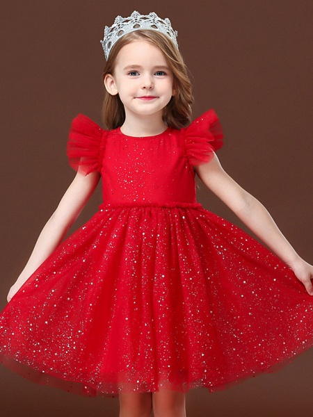Princess / Ball Gown Short / Mini Wedding / Party Flower Girl Dresses - Tulle Short Sleeve Jewel Neck With Ruffles / Paillette_3