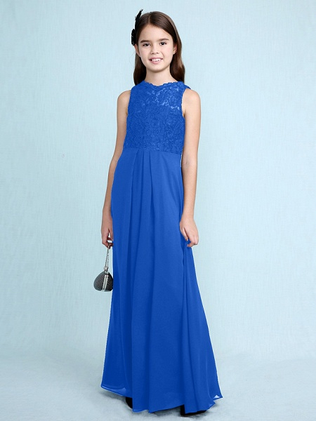 Sheath / Column Scoop Neck Floor Length Chiffon / Lace Junior Bridesmaid Dress With Lace / Natural_36