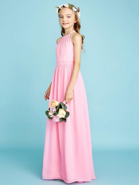 A-Line Halter Neck Floor Length Chiffon Junior Bridesmaid Dress With Sash / Ribbon / Natural_3