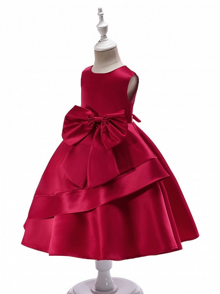 Ball Gown Knee Length Wedding / Party Flower Girl Dresses - Tulle Sleeveless Jewel Neck With Bow(S) / Tier_5