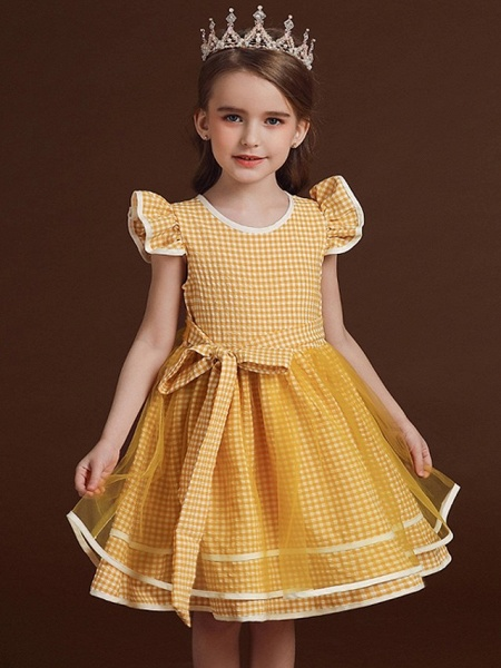 Ball Gown Knee Length Party / Birthday Flower Girl Dresses - Polyester / Cotton / Tulle Cap Sleeve Jewel Neck With Bow(S) / Ruffles_3