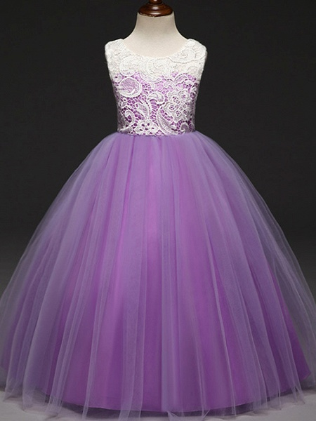 Ball Gown Floor Length Wedding / Party Flower Girl Dresses - Lace / Tulle Sleeveless Jewel Neck With Tiered_5