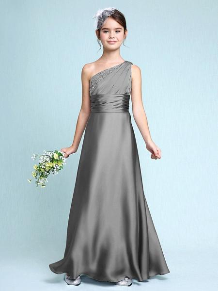 Sheath / Column One Shoulder Floor Length Chiffon Satin Junior Bridesmaid Dress With Ruched / Side Draping / Natural_26