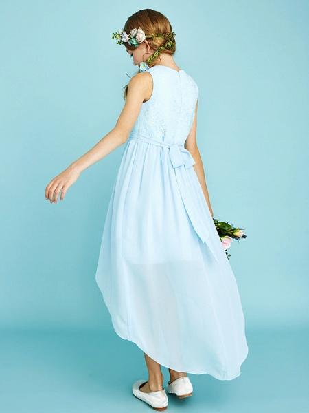 Sheath / Column Jewel Neck Asymmetrical Chiffon / Lace Junior Bridesmaid Dress With Pleats / Natural_2