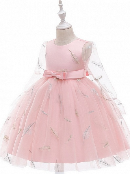 Princess / Ball Gown Knee Length Wedding / Party Flower Girl Dresses - Tulle Long Sleeve Jewel Neck With Sash / Ribbon / Bow(S) / Pattern / Print_7