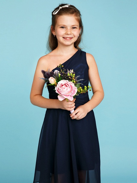 A-Line One Shoulder Asymmetrical Chiffon Junior Bridesmaid Dress With Side Draping / Wedding Party_5