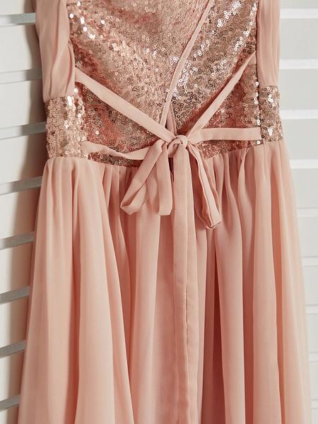 A-Line Jewel Neck Maxi Chiffon Junior Bridesmaid Dress With Lace / Sash / Ribbon_7