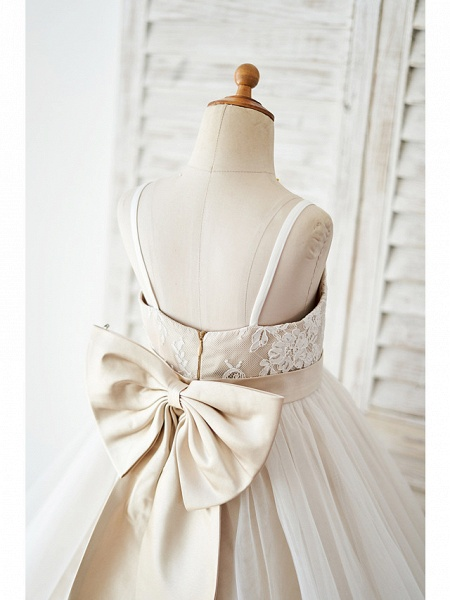 Ball Gown Knee Length Wedding / Birthday Flower Girl Dresses - Lace / Tulle Sleeveless Spaghetti Strap With Bow(S)_4