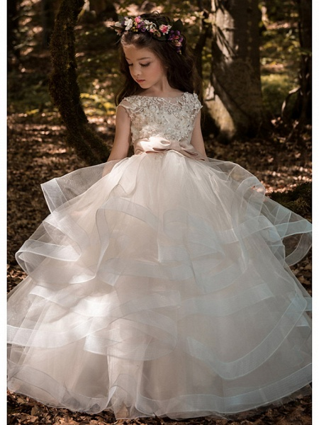 Ball Gown Floor Length Wedding / Party Flower Girl Dresses - Tulle Sleeveless Jewel Neck With Bow(S) / Solid_1