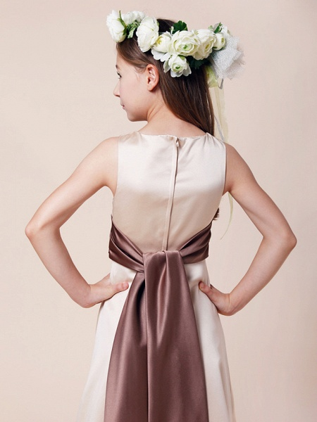 Princess / A-Line Bateau Neck Floor Length Satin Junior Bridesmaid Dress With Sash / Ribbon / Ruched / Spring / Summer / Fall / Winter / Apple_5