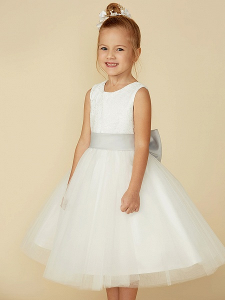A-Line Tea Length Wedding / First Communion Flower Girl Dresses - Lace / Tulle Sleeveless Jewel Neck With Lace / Sash / Ribbon_5