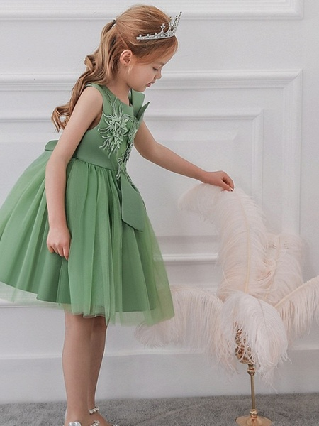 Princess / Ball Gown Knee Length Wedding / Party Flower Girl Dresses - Satin / Tulle Sleeveless Jewel Neck With Bow(S) / Appliques_5