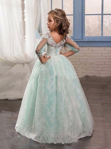 Princess / Ball Gown Sweep / Brush Train Wedding / Party Flower Girl Dresses - Lace / Tulle 3/4 Length Sleeve Jewel Neck With Pleats / Appliques_2