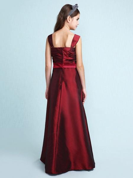 Princess / A-Line Straps Floor Length Taffeta Junior Bridesmaid Dress With Sash / Ribbon / Bow(S) / Ruched / Spring / Fall / Winter / Wedding Party / Natural_2