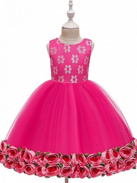 Princess / Ball Gown Knee Length Wedding / Party Flower Girl Dresses - Tulle Sleeveless Jewel Neck With Bow(S) / Pattern / Print / Flower_9