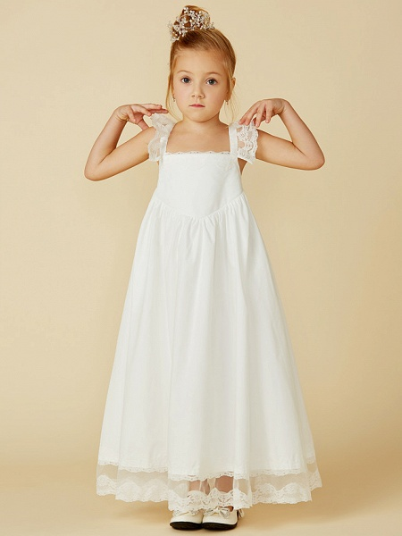 A-Line Ankle Length Wedding / First Communion Flower Girl Dresses - Lace / Cotton Sleeveless Straps With Pleats_4