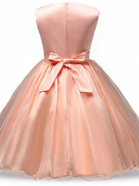 Princess Midi Wedding / Party / Pageant Flower Girl Dresses - Tulle Sleeveless Jewel Neck With Belt / Bow(S) / Appliques_2