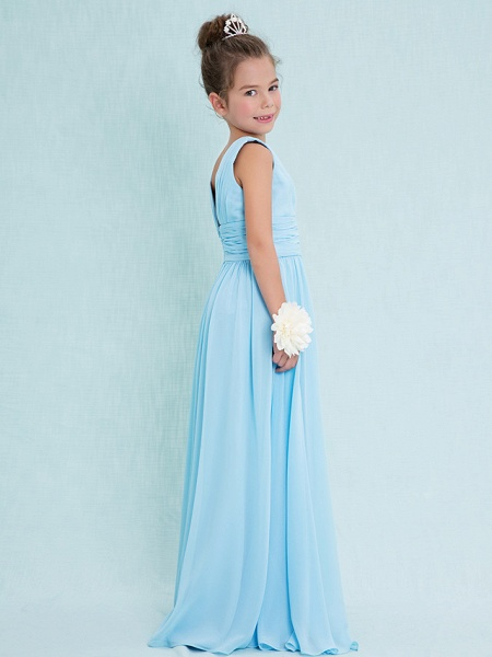 Sheath / Column V Neck Floor Length Chiffon Junior Bridesmaid Dress With Criss Cross / Ruched / Natural_2