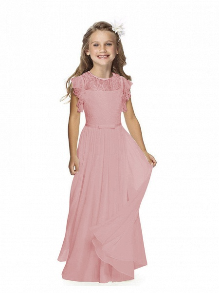 Sheath / Column Long Length Party / Birthday / First Communion Flower Girl Dresses - Chiffon / Lace Short Sleeve Jewel Neck With Lace / Butterfly_8