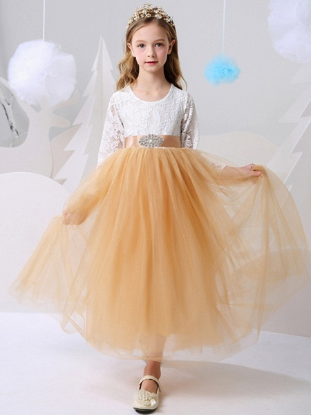 Ball Gown Floor Length Party / Birthday Flower Girl Dresses - Polyester Long Sleeve Jewel Neck With Color Block_1