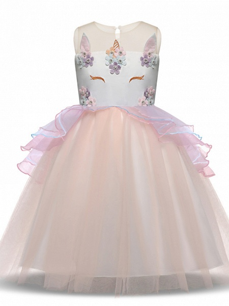 Princess Midi Party / Birthday Satin / Tulle Sleeveless Jewel Neck With Tier / Embroidery / Appliques_2