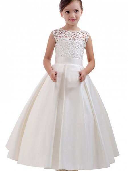 Princess / A-Line Floor Length Wedding / Party Flower Girl Dresses - Lace / Satin Short Sleeve Jewel Neck With Pleats / Solid_1
