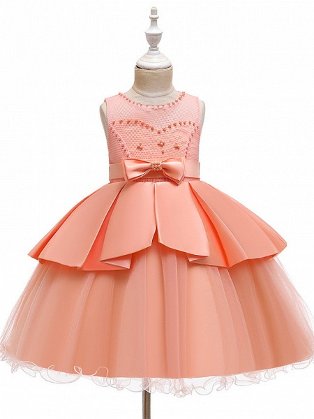A-Line Knee Length Wedding / Party Communion Dresses - Tulle / Matte Satin / Poly&Cotton Blend Sleeveless Jewel Neck With Lace / Bow(S) / Beading_7