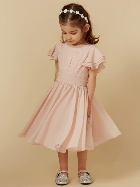 A-Line Tea Length Holiday Flower Girl Dresses - Chiffon Short Sleeve Scoop Neck With Sash / Ribbon_4