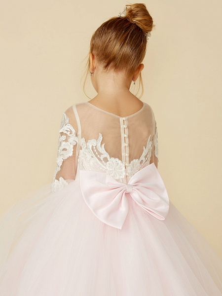 Ball Gown Court Train Wedding / Party / Pageant Flower Girl Dresses - Lace / Tulle Long Sleeve Illusion Neck With Bows / Bow(S) / Buttons_10