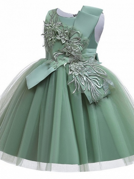 Princess / Ball Gown Knee Length Wedding / Party Flower Girl Dresses - Satin / Tulle Sleeveless Jewel Neck With Bow(S) / Appliques_9